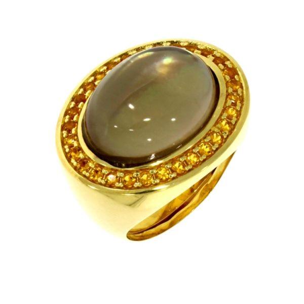 Marina Garcia Ring 925 Silber Gelbvergoldet Dublette Quarz