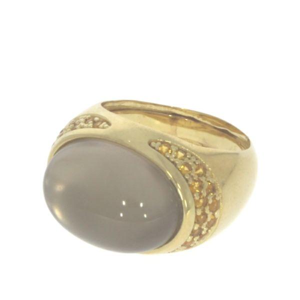 Marina Garcia Ring 925 Silber Gelbvergoldet Dublette Rauchquarz & Perle