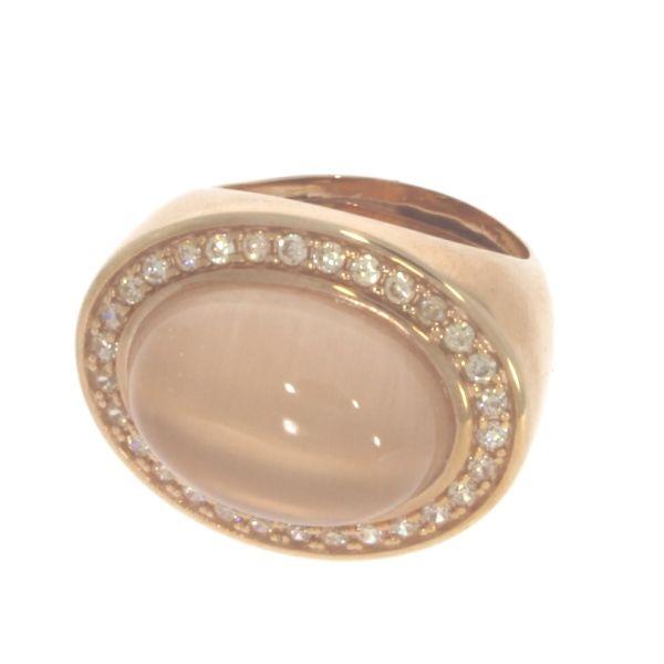 Marina Garcia Ring 925 Silber Rotvergoldet Quarz & Zirkonia
