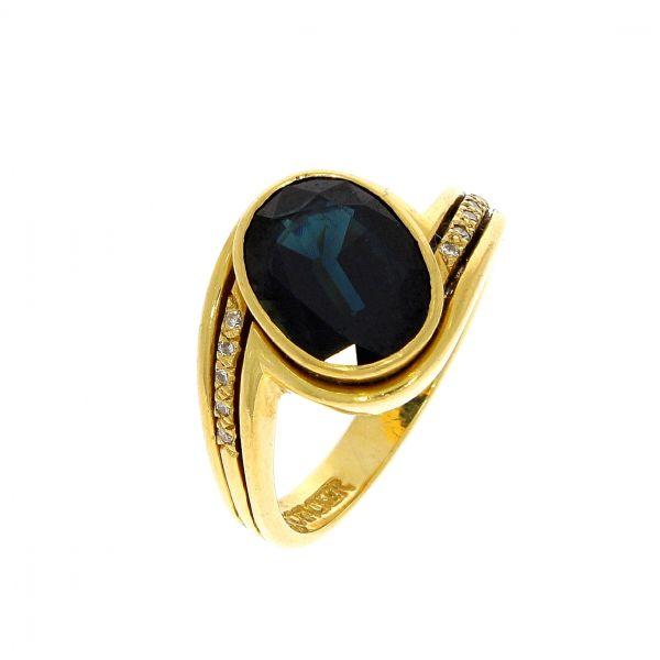 Ring 750/- Gelbgold mit Safir