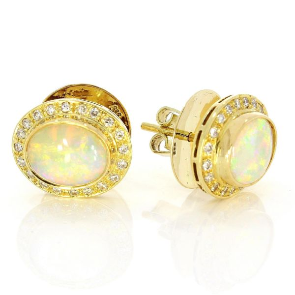 Ohrstecker 750/- Gold mit Brillanten & Opal