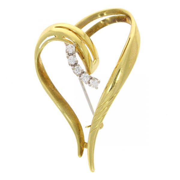 Brosche 585/- Gelbgold mit Diamanten