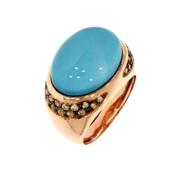 Marina Garcia Ring 925 Silber Rotvergoldet Dublette Quarz