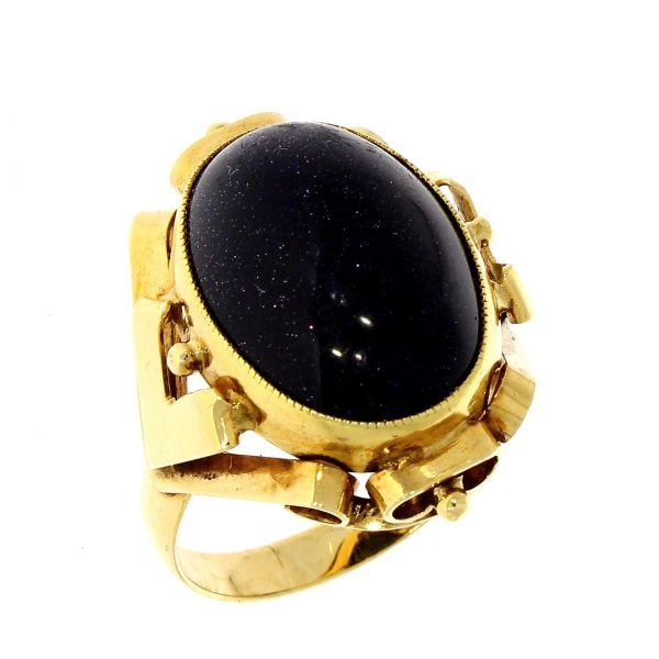 Ring 585/- Gelbgold mit Farbstein