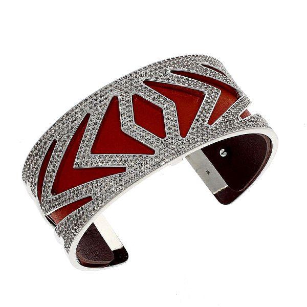 Les Georgettes Armreif Design Chevron Medium Silber inkl. Lederband