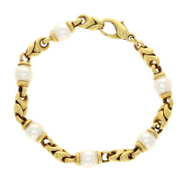 Armband 750/- Gelbgold mit Akoya-Perlen