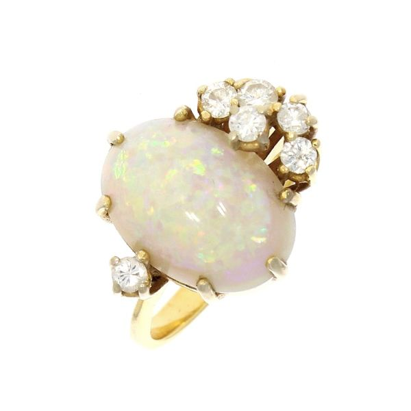 Ring 585/- Gelbgold mit Opal & Brillanten