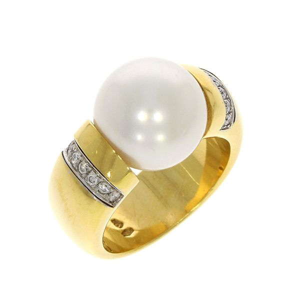 Ring 750/- Gelbgold mit Südsee-Perle